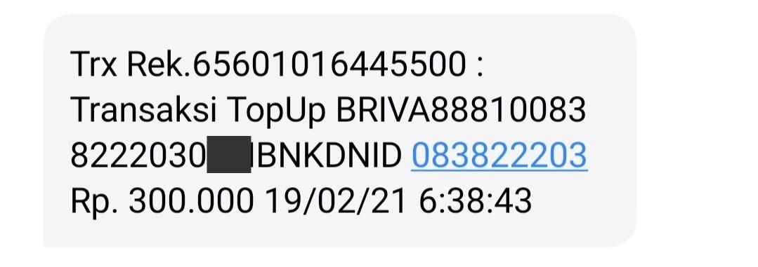 Bukti SMS transaksi BRIVA ke DANA