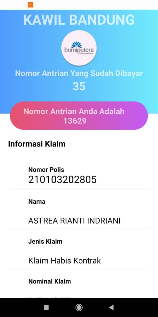 Tampilan di dalam aplikasi BPInfo