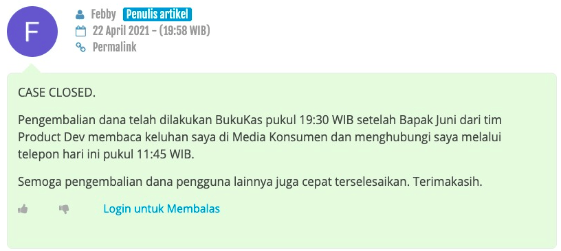 Case closed Ibu Febrianti