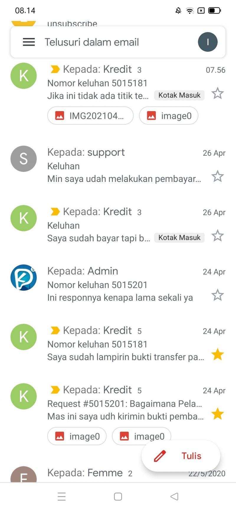 Ini adalah bukti screenshootan saya membalas email kredit pintar.