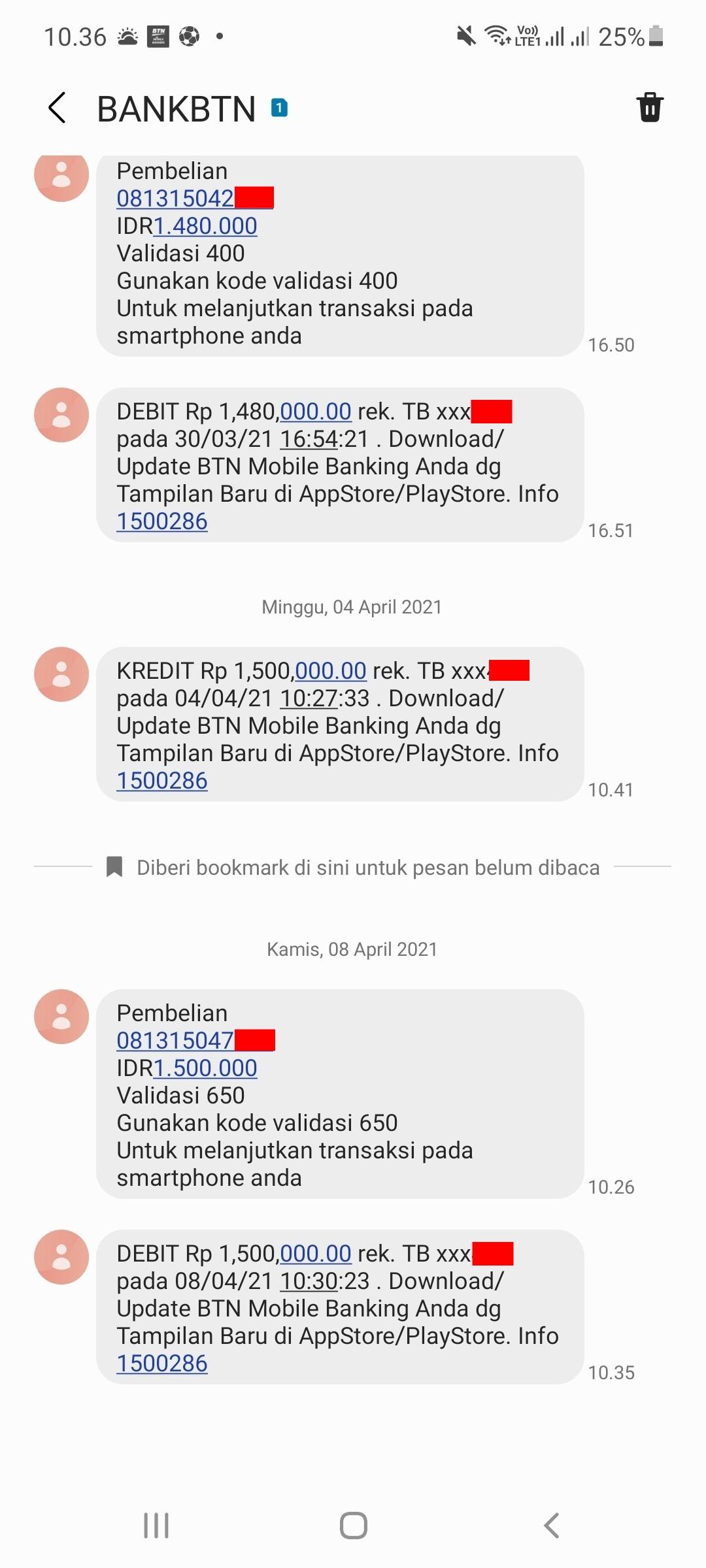 Transaksi melalu BTN Mobile