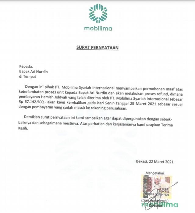 Surat Pernyatan Refund