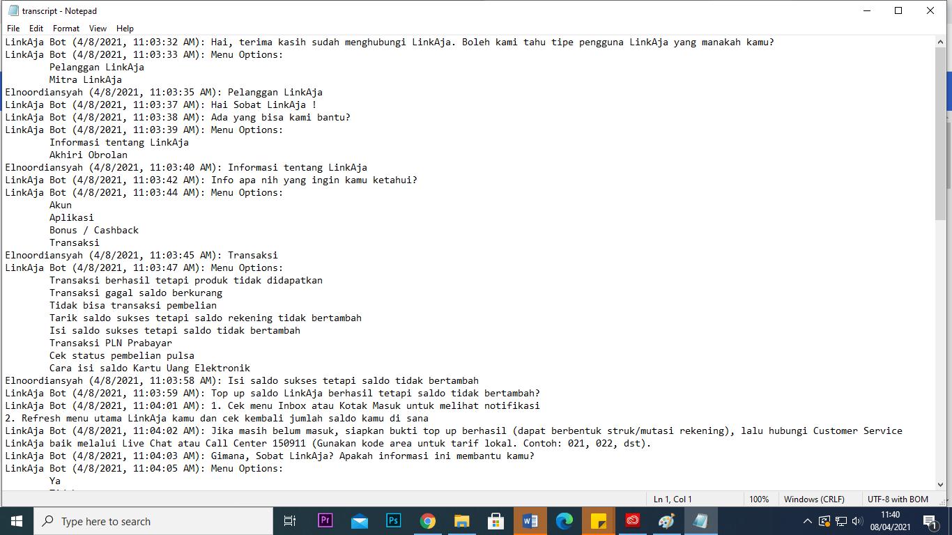 Transcript dengan CS LinkAja