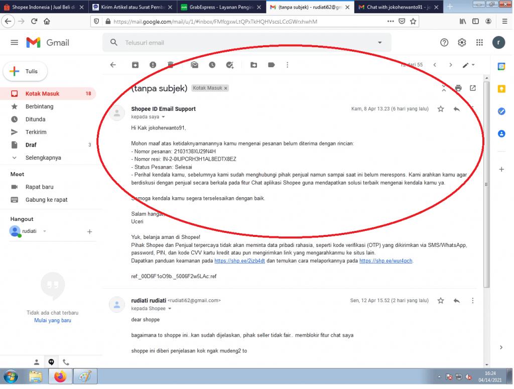 Shopee: Masih menghubungi penjual (dari chat terakhir di bantuan Shopee, bahwa saya disarankan untuk menghubungi penjual secara berkala).