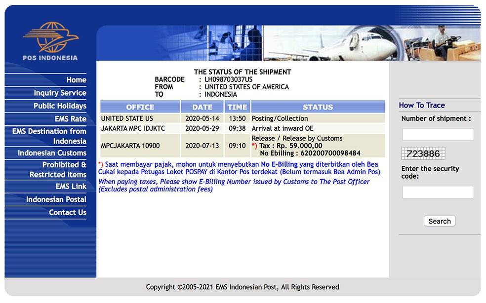 Paket LH098703037US