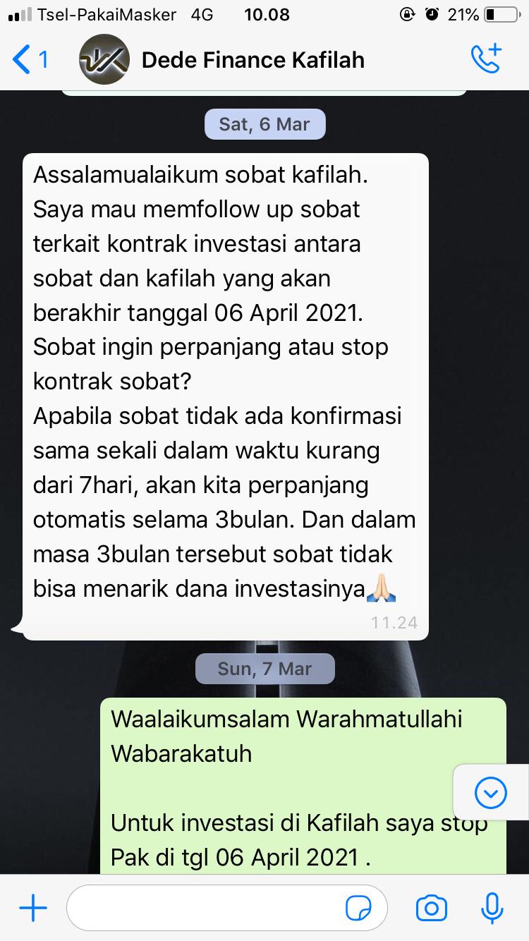 Chat Whatsapp dengan bagian Finace Kafilah
