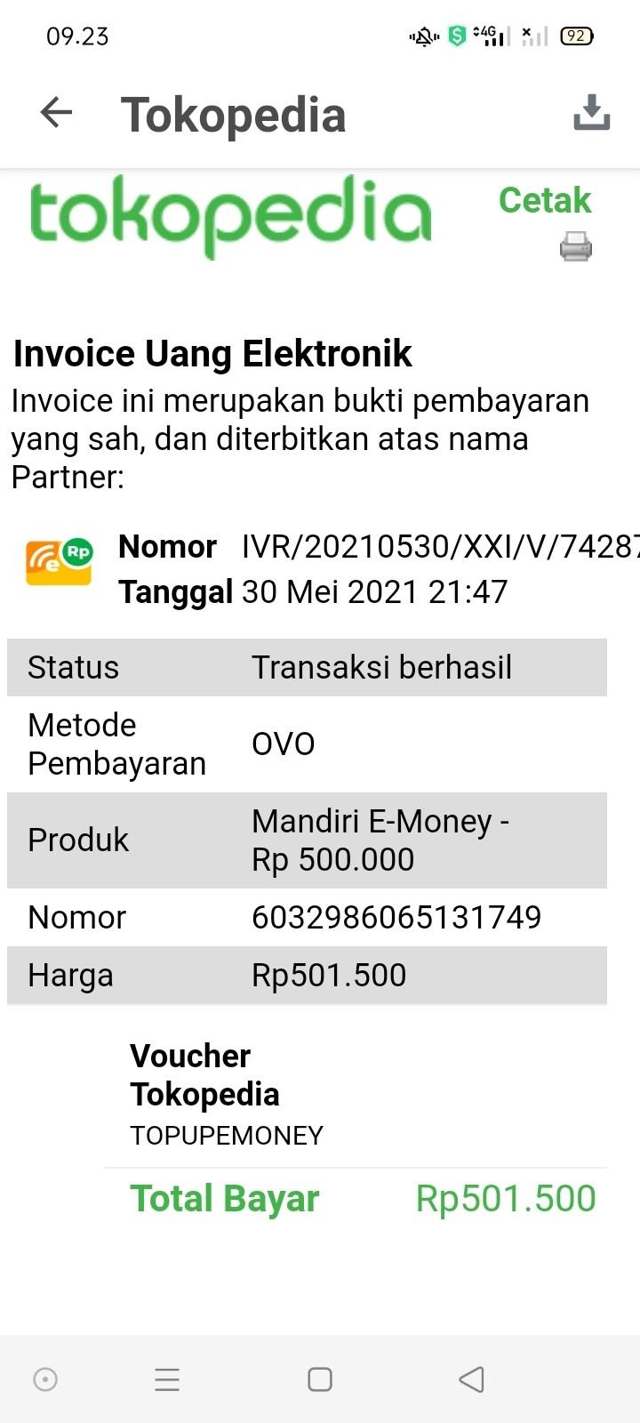 Bukti Top-up E-money Gagal Update