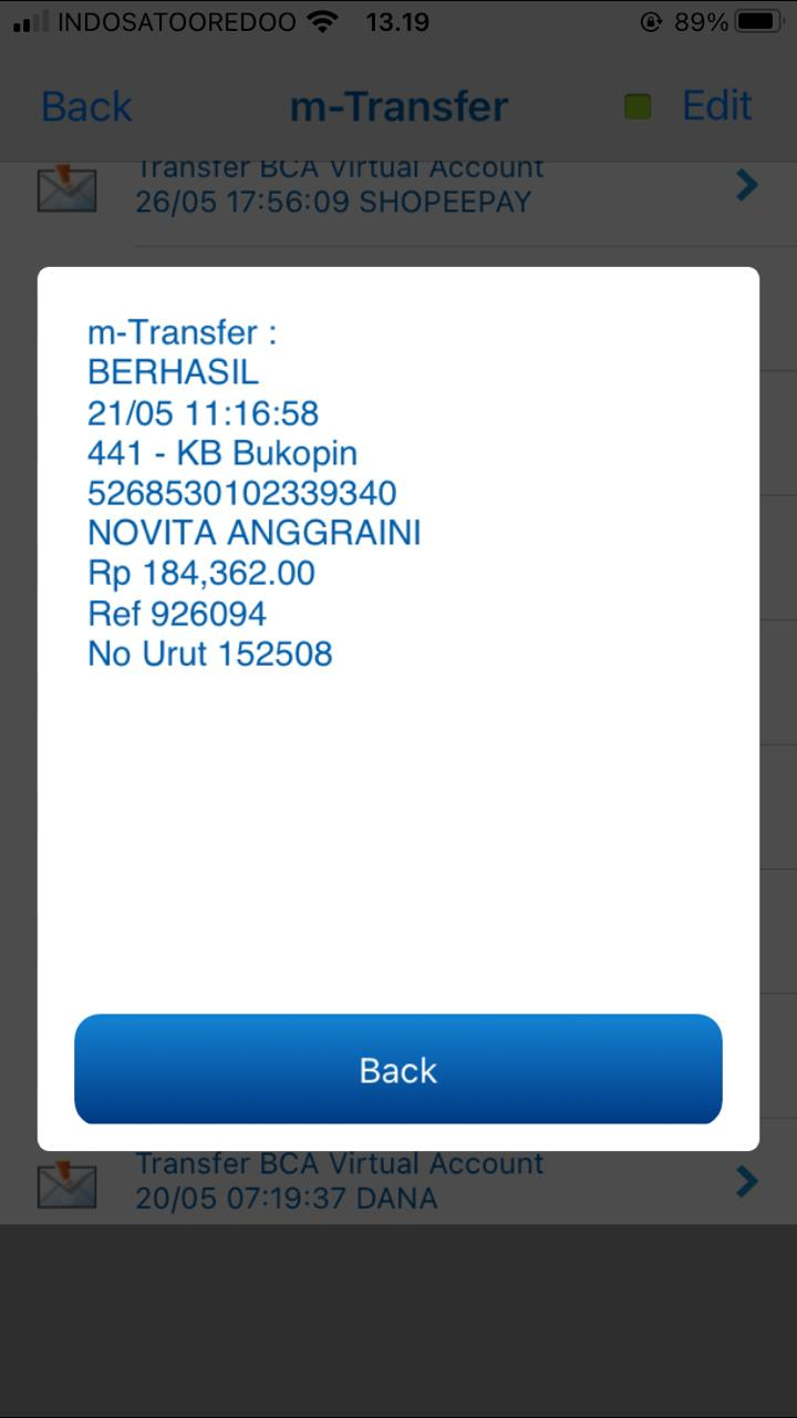 transfer dari bank BCA