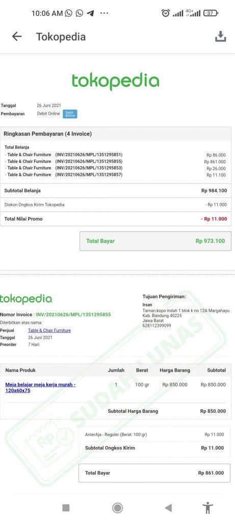 Bukti transaksi di Tokopedia dan bukti chat dengan Tokopedia