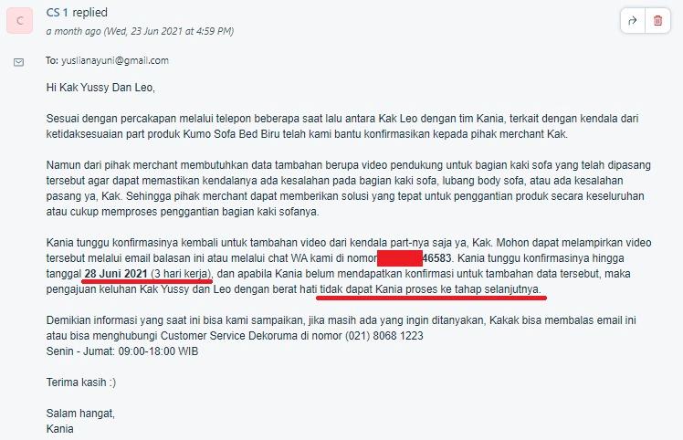 Screenshot email Dekoruma kepada customer untuk follow up keluhan