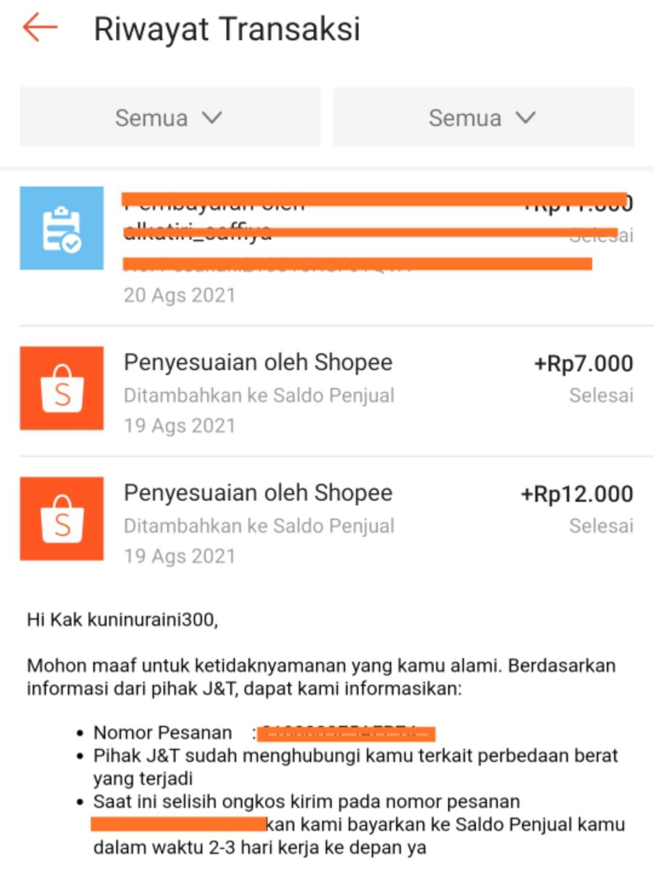 Bukti Pengembalian dana saldo yang terpotong oleh shopee karena perbedaan ongkos kirim