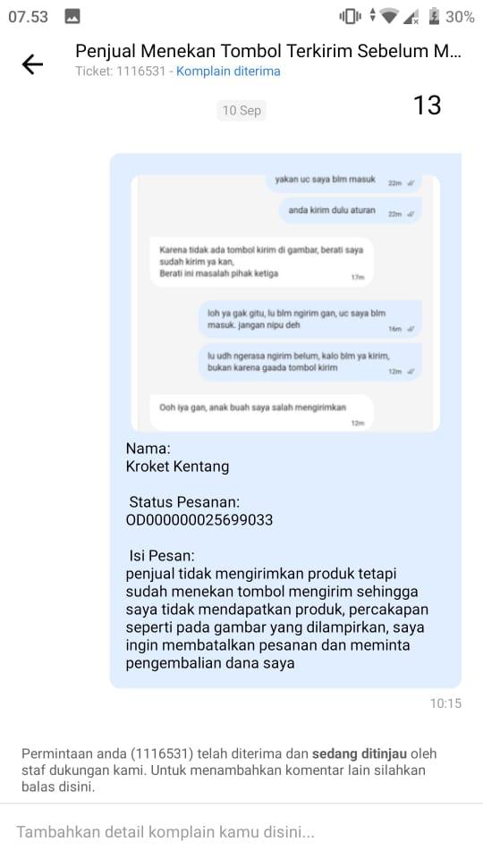 Isi pesan teks laporan komplain pertama kepada CS Itemku yang tidak kunjung dibalas maupun ditanggapi sampai berhari-hari