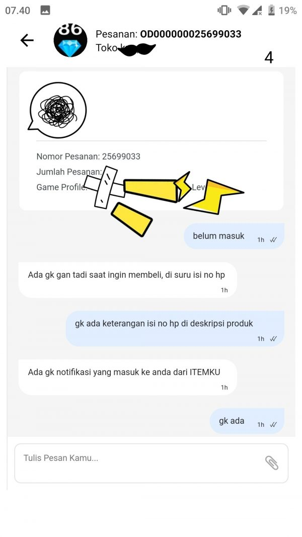 Isi pesan teks dengan penjual pada pesanan yg bermasalah dan berakhir tidak ditanggapi oleh penjual