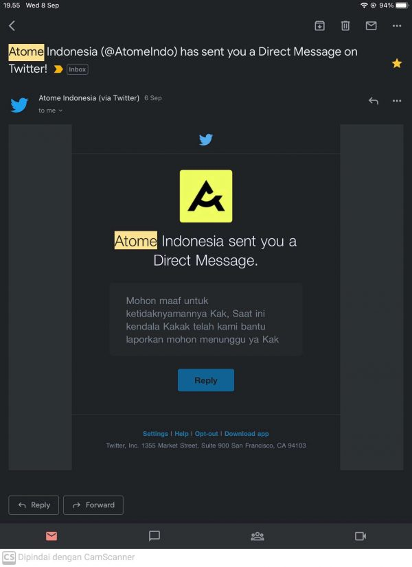 Jawaban DM Twitter