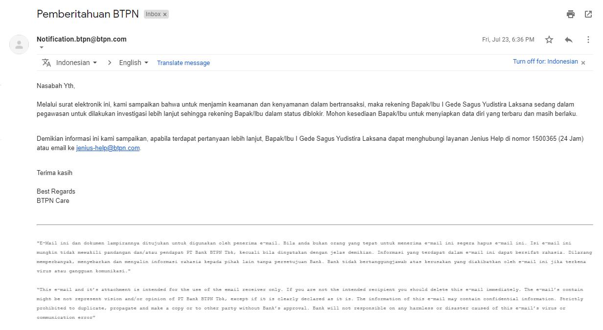 Email BTPN