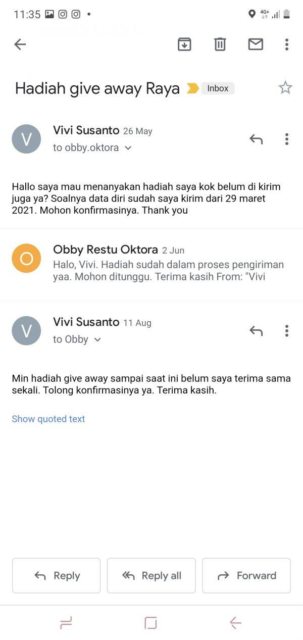 Email bulan juni katanya hadiah dalam proses pengiriman