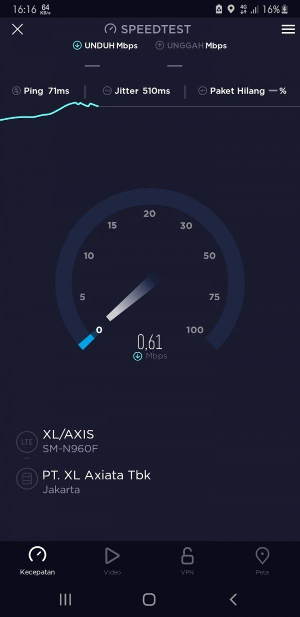 Screenshot kecepatan internet XL/Axis berlangsung di tes dengan menggunakan aplikasi Speedtes